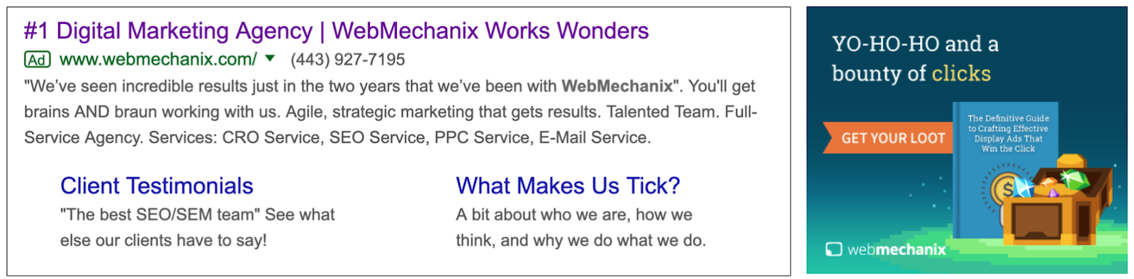 google ads - ppc Example of a Google search ad in Google Serp