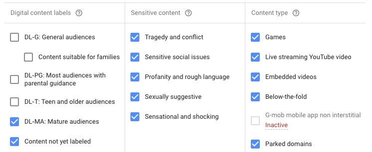 Content labels for targeting