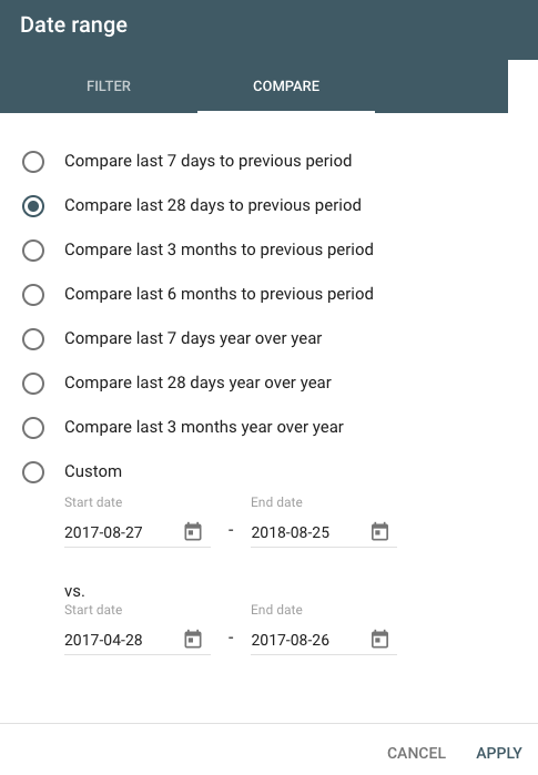 google search console date range selector