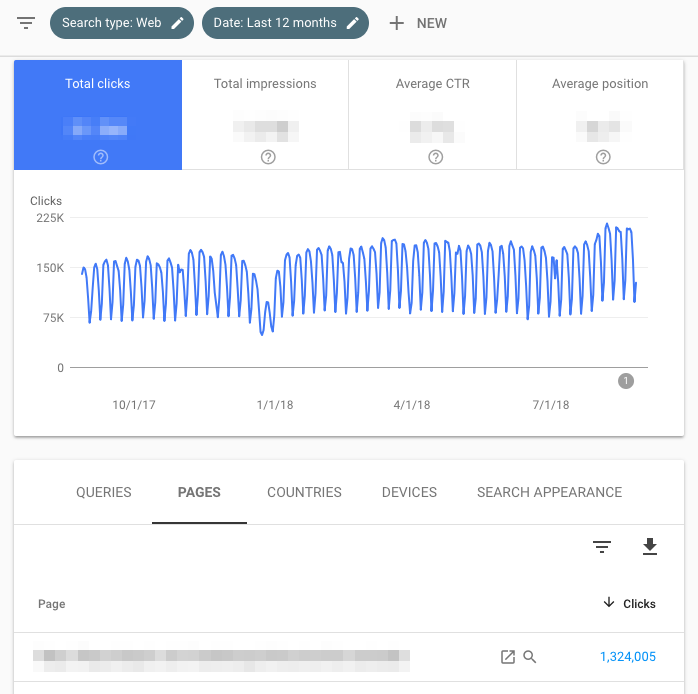 google search console pages report