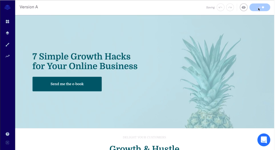 example of social media testing with Leadpages A/B landing page test tool