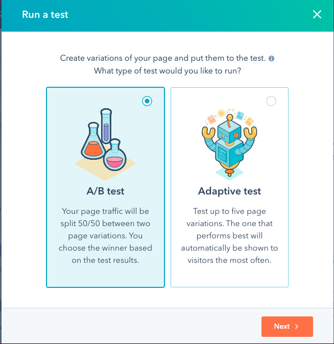 HubSpot testing screens