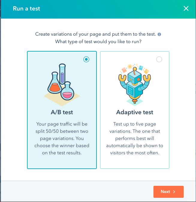 HubSpot testing screens