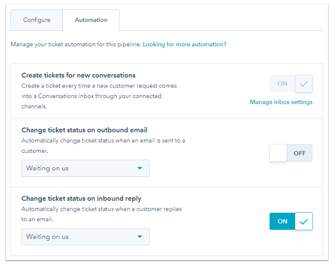 "Automation panel with options such as ""Create tickets for new conversations,"" ""Change ticket status on outbound email,"" and ""Change ticket status on inbound reply"""