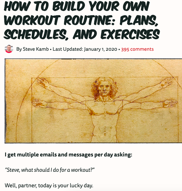 Fitness blog example