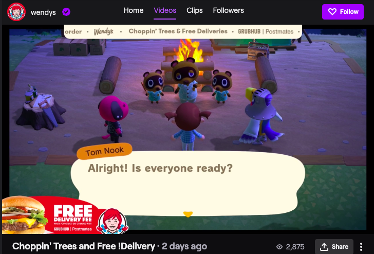 Wendy's branded stream on Twitch.