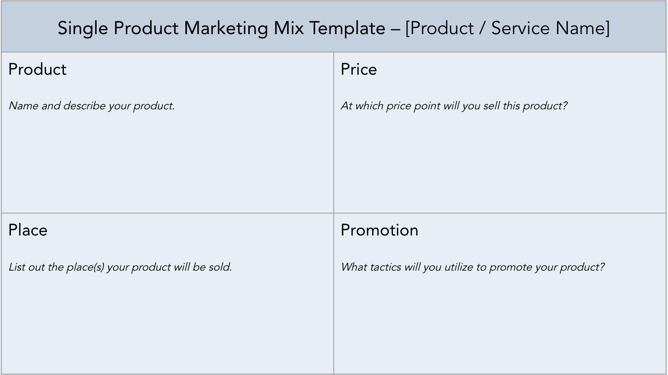 Single product marketing mix template