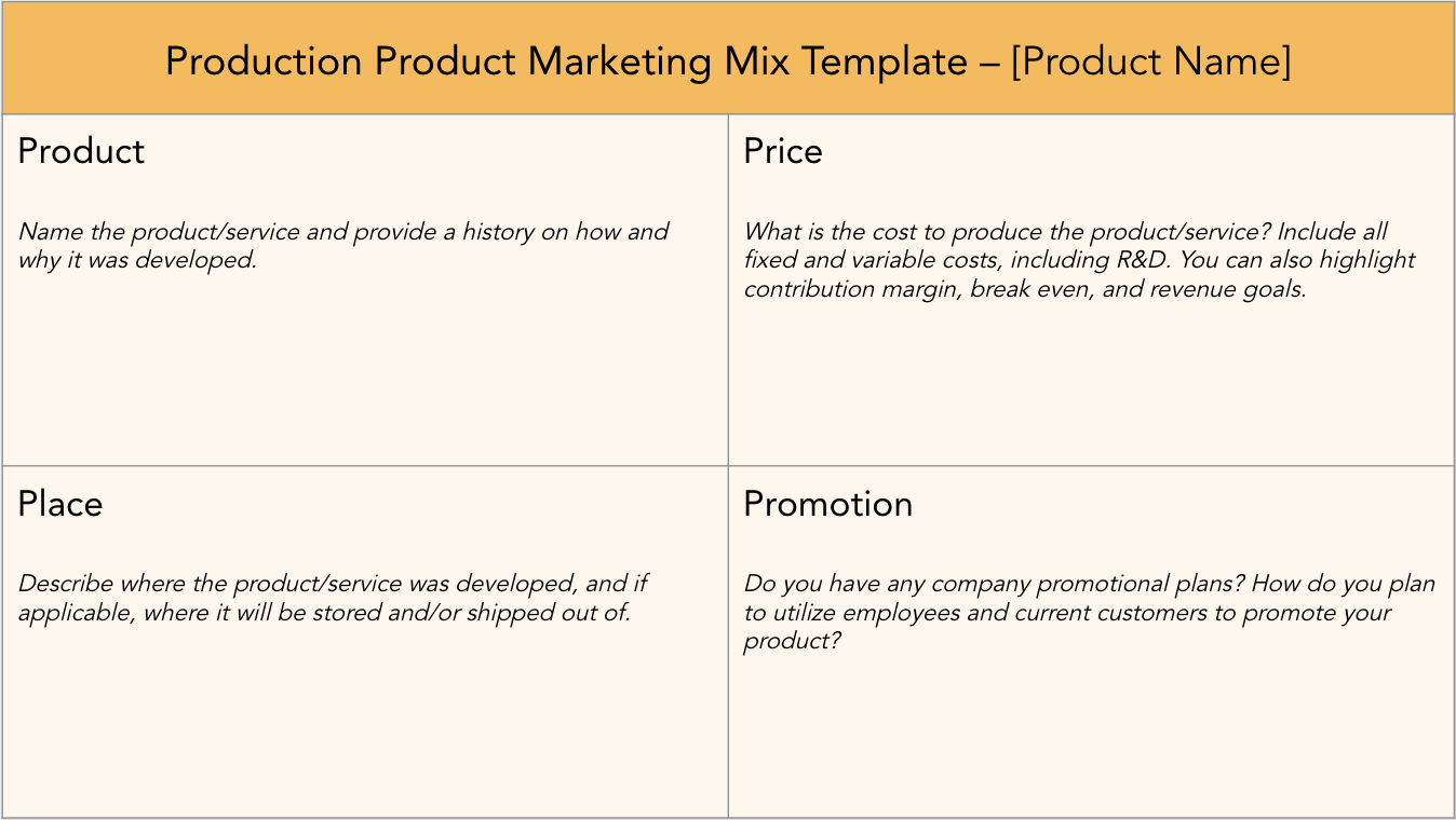 production marketing mix template