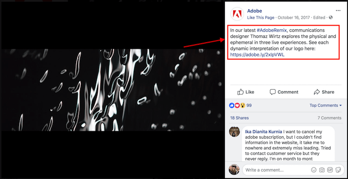 call to action on adobe's facebook cover photo