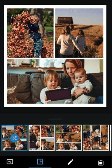 The collage making setting on Adobe Photoshop Express mobile app
