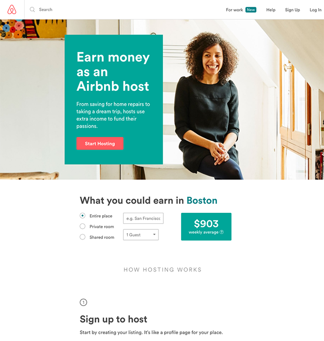 Airbnb sign-up landing page
