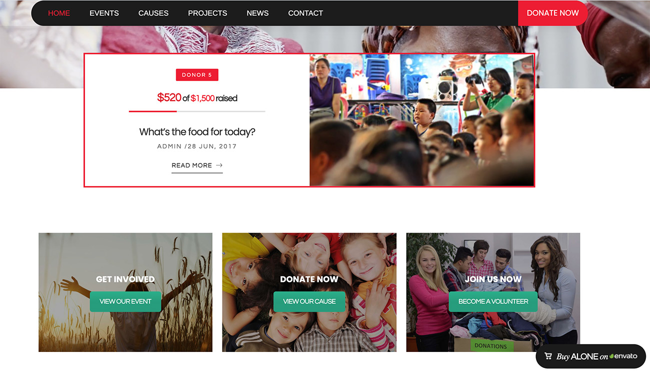Alone WordPress theme for nonprofit organizations