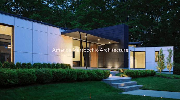 Página de inicio de Amanda Martocchio Architecture, un sitio web de la empresa con hermosas fotografías