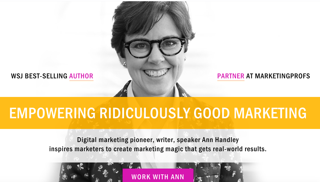 Ann Handley's above the fold website