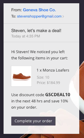 BigCommerce email example