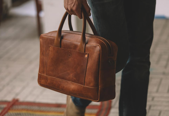 Briefcase product photo shot in natural light