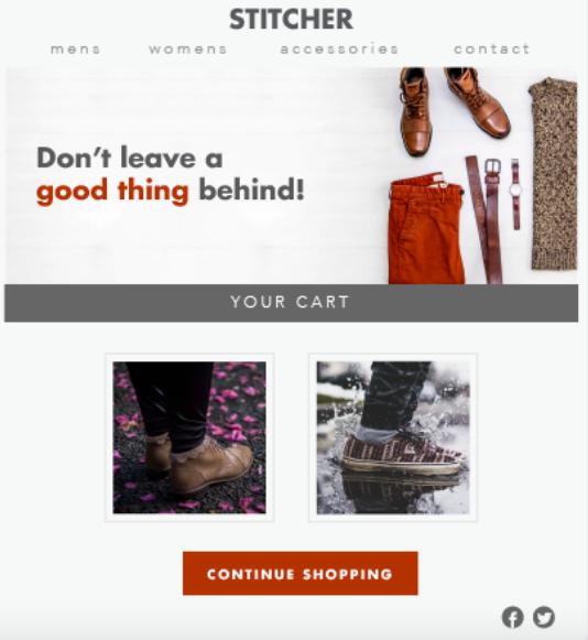 Stitcher cart abandonment email
