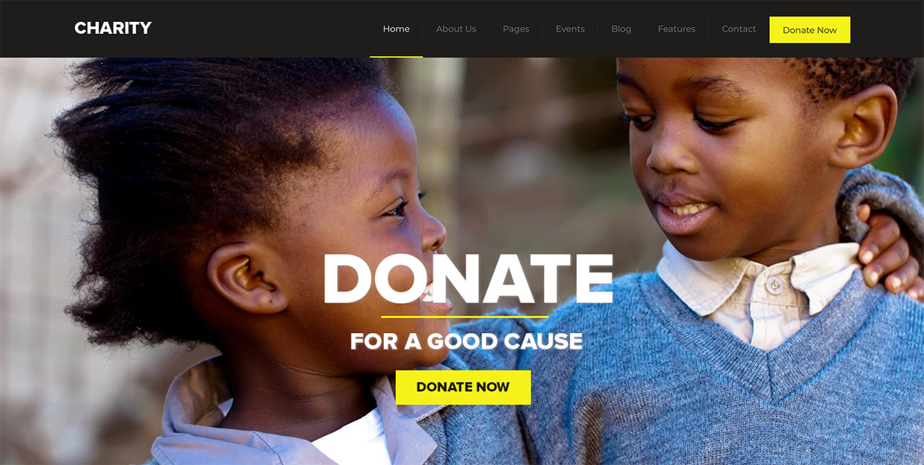 Charity WordPress theme for nonprofit organizations featuring two children and the word donate in bold letters across the screen