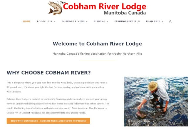 cobham river lodge website - avada theme example