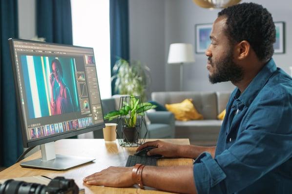 graphic designer using color theory design