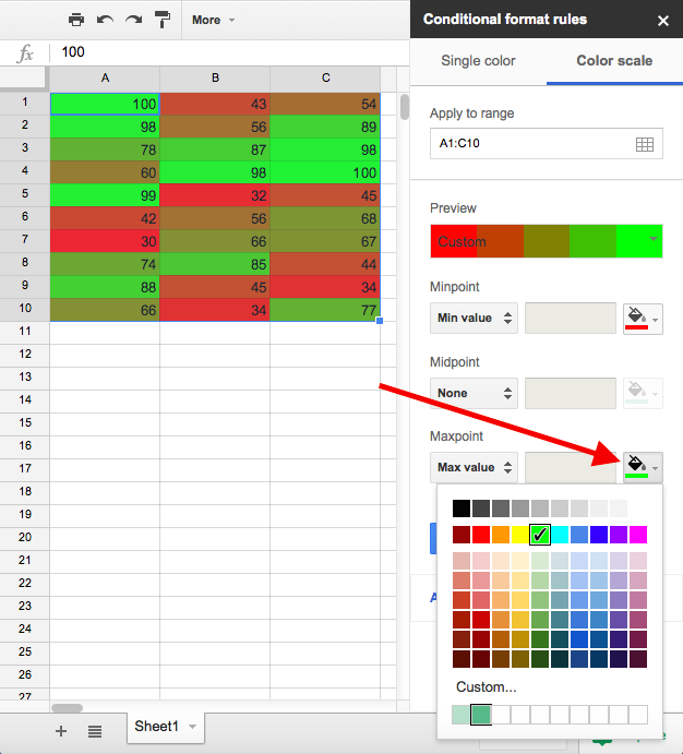 how to add fill colors to google sheets