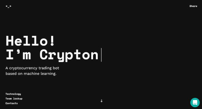 Homepage of crypton.trading, an award-winning website