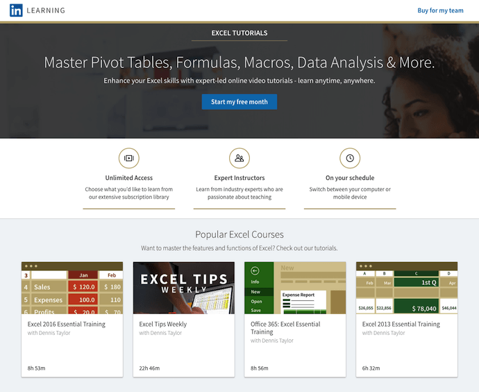 Excel training courses by Dennis Taylor on LinkedIn Learning