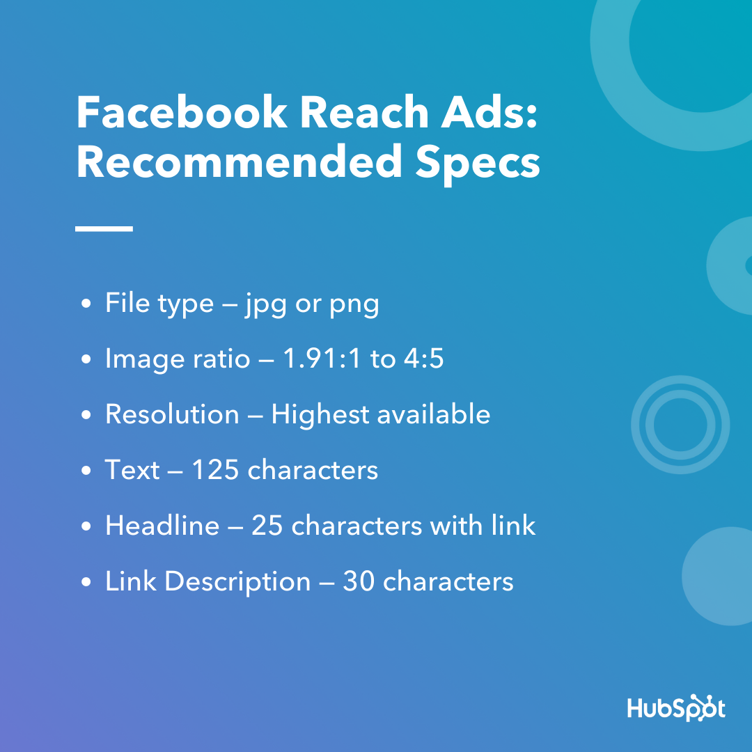 Facebook Reach Ads Specs