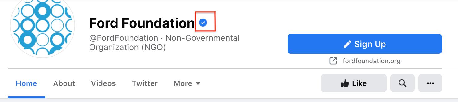 Beispiel für ein Facebook-Bestätigungsabzeichen