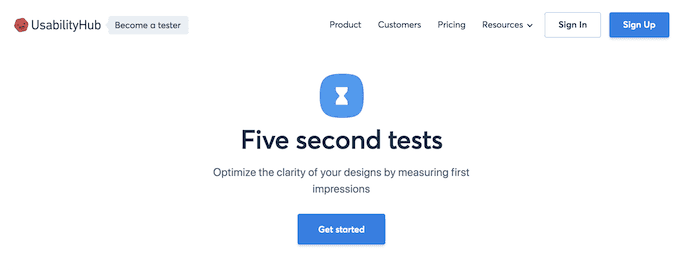 Homepage of Five Second Test, a website usability testing tool