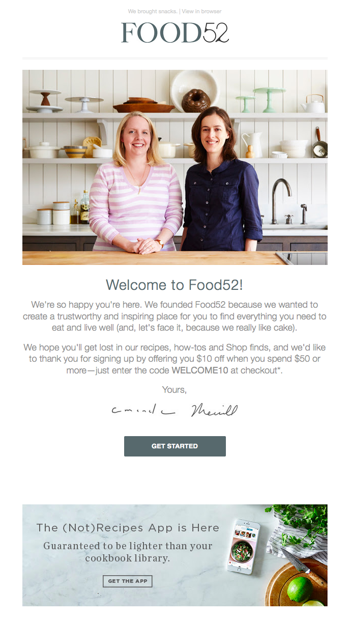 food52 welcome email with a gray cta to get started