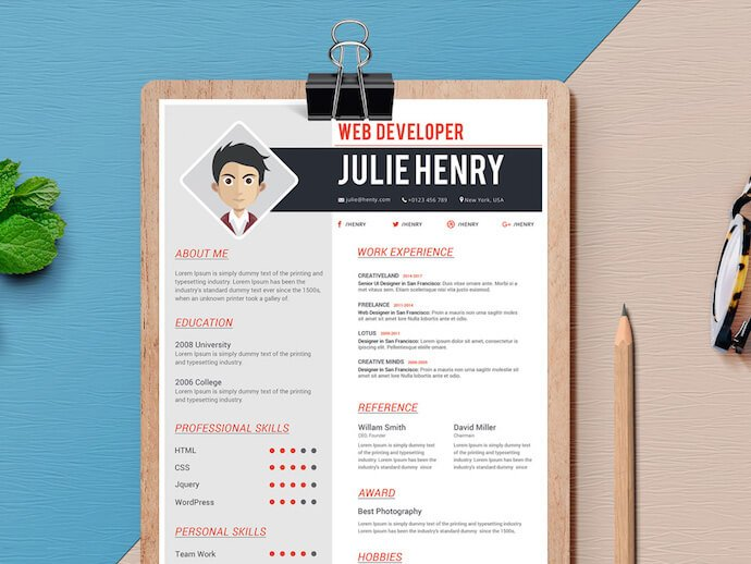 Resume Template For MS Word With Space Comic Headshot