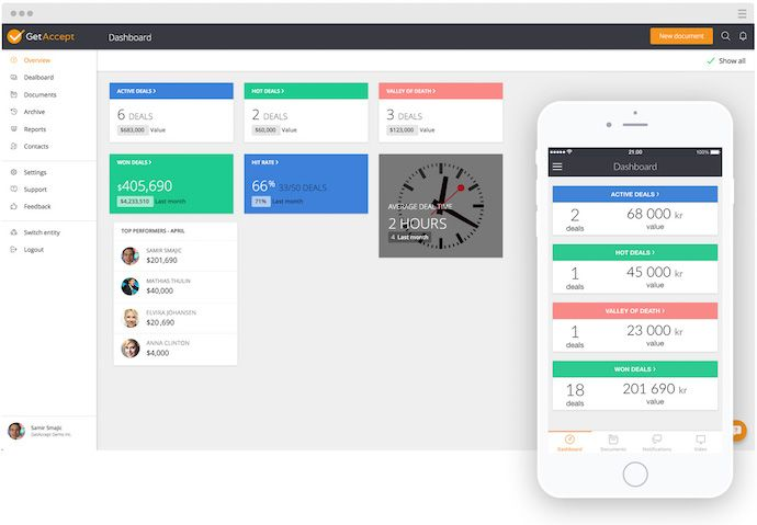 GetAccept business proposal software dashboard with mobile app screen