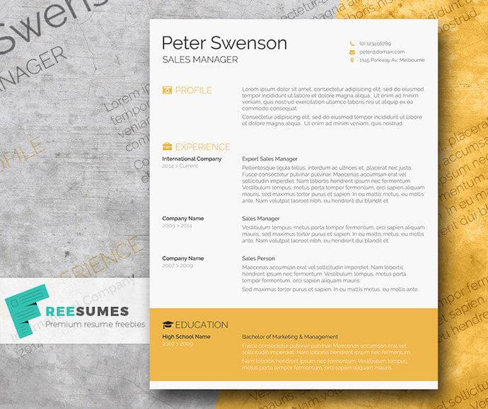 Goldenrod yellow resume template for MS Word