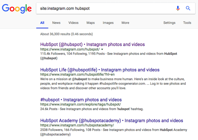 Google site search for HubSpot, allowing you to search Instagram users without an account