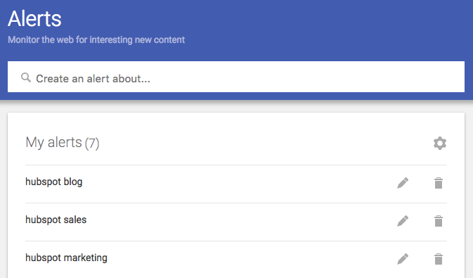 Google Alerts dashboard with 7 marketing keywords set up for monitoring