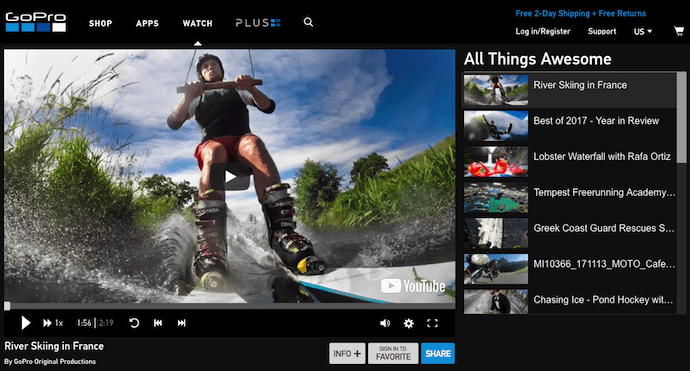 GoPro ecommerce user video channel
