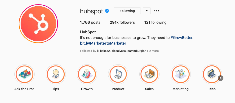 Brand identity on HubSpot's Instagram