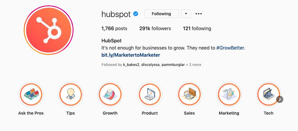 HubSpot的Instagram上的品牌标识