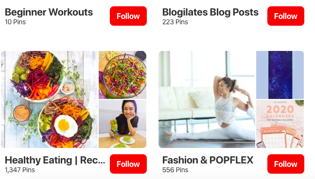 Example of Pinterest board names and categories