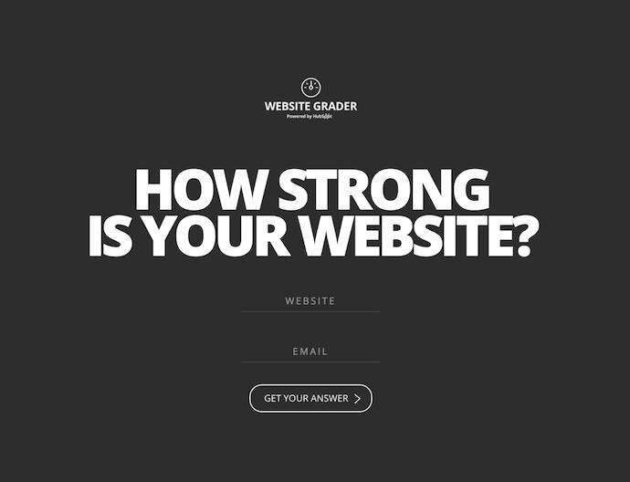 HubSpot網站評分平台的主頁,為網站所有者提供網站審核其域名實力的信息