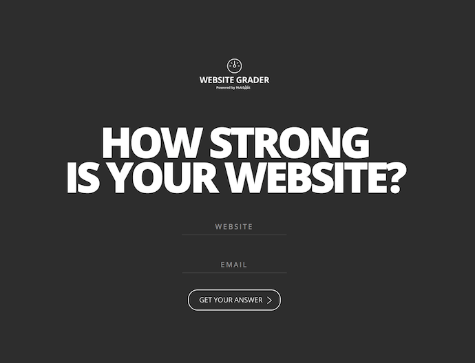 Homepage of HubSpot's Website Grader, giving site owners a website audit of their domain's strength