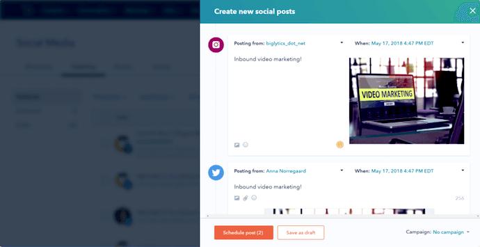 HubSpot's social media publishing tool