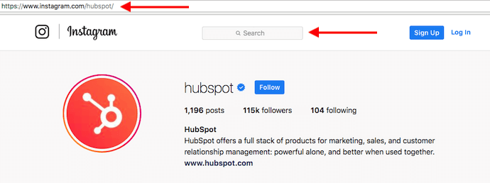 HubSpot's Instagram profile with red arrows pointing to search bar for looking up users without an account