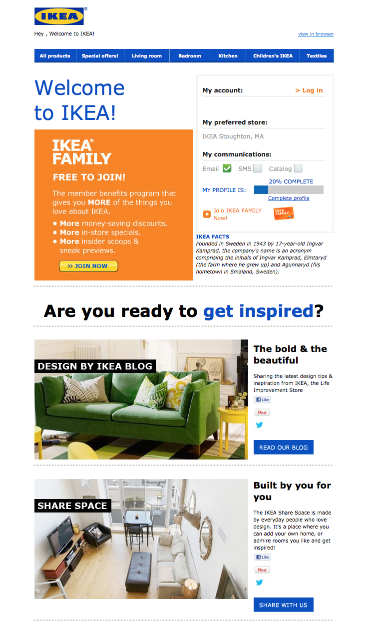 IKEA welcome email with offer to join free membership