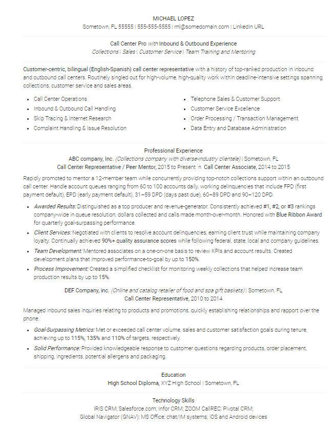 8 Call Center Resume Samples & the Skills to Include [Templates]