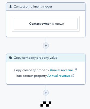 Screenshot of a workflow in HubSpot that copies a company property into a contact property if the contact owner is known.