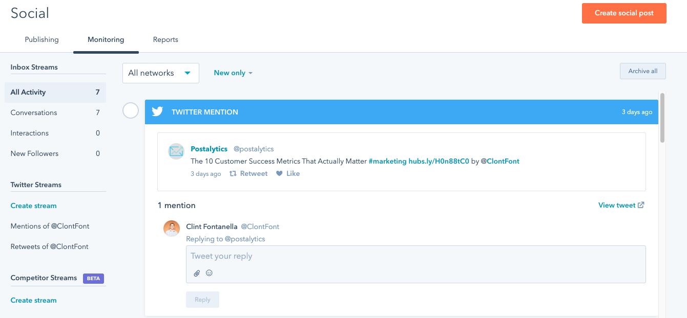 social media customer service: HubSpot social media tool