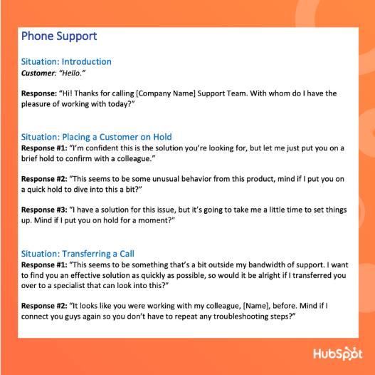 Customer Service Scrip Template