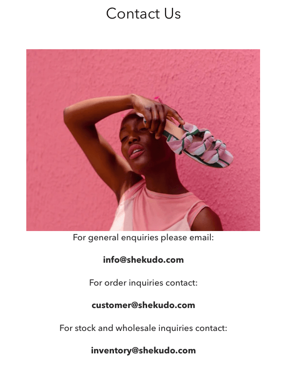 Shekudo contact page